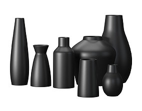 Pure Black Ceramic Vases West Elm 3D model