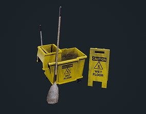 3D asset Mop Bucket Game Ready 01