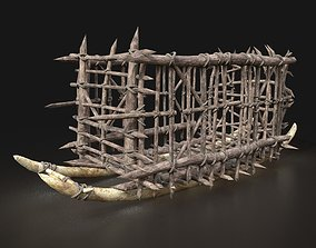 Orc Cage Wagon Sleigh Sled Tractor Rail Machine 3D asset 2