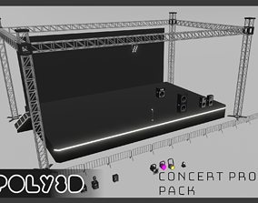 3D asset Lowpoly Concert Stage Props