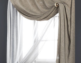 3D model Curtains for arched window