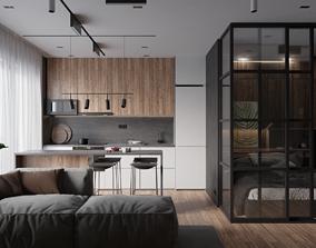 3D Modern apartment interior 50 sqm