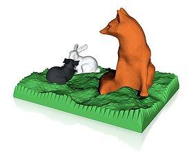 3D printable model fox watching bunnies