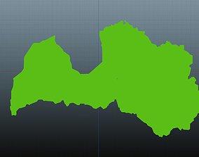 3D model Latvia map