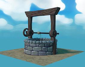 3D asset Low poly cartoon water well