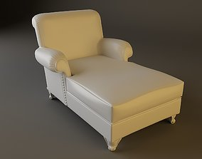 White Leather Chaise Chair 3D