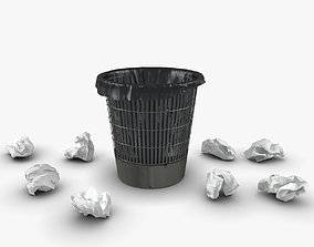 Trash bin and crumpled paper 3D model low-poly