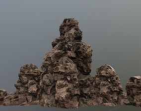 rocks desert mount 3D model realtime