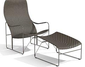 3D JANUS et Cie WHISKEY Garden armchair and footstool