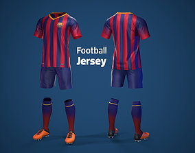 3D model Football Jersey full outfit Barcelona Team