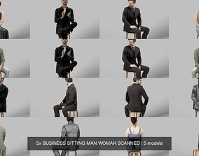 5x BUSINESS SITTING MAN WOMAN SCANNED 3D