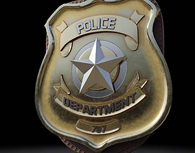 3D model low-poly Police Badge Photorealistic PBR