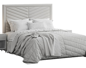 Rhys II Dovetail Tufted Headboard Bed bedding 3D model