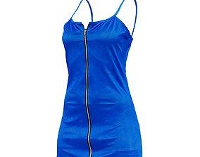 3D model Front Zipper Metallic Dress