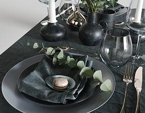 kitchen 3D model table setting