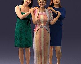 Three women hugging 0042 3D