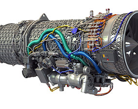 3D Eurojet EJ200 Military Turbofan Jet Engine