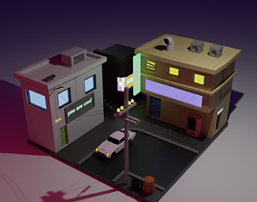 3D asset low-poly low poly street