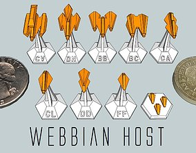 MicroFleet Webbian Host Starship Pack 3D print model