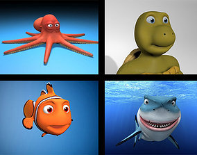 cartoon rigged characters 3D asset