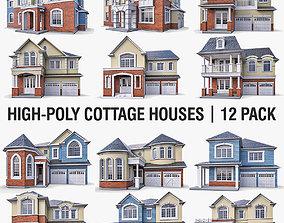 3D model Cottage Houses - 12 Pack