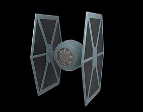 3D model animated StarWars - LowPoly Tie Fighter