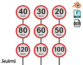 Road Sign - Speed Limit Pack - km h - 3D model