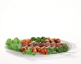 Porcelain Plate With Food 3D
