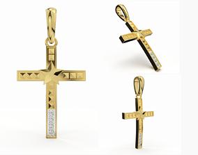 JESUS CROSS DIAMOND PENDANT 3D printable model chrome