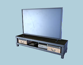 TV Table with TV 3D asset
