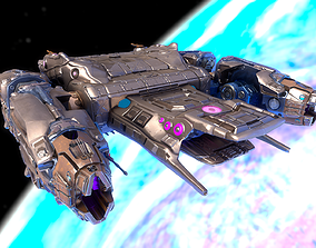 3D asset Sci-fi Battle Spaceship Essenor-Rigged