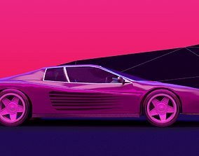 looks like a ferrari retro wave lowpoly 3D model