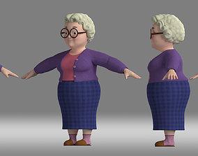 3D cartoon grandma woman