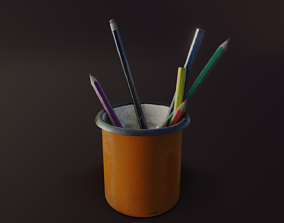 3D asset Old Pencil Holder
