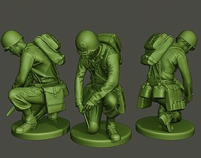 American soldier ww2 cutting A8 3D printable model