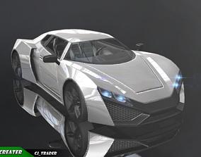Lowpoly Bugatti Chiron Racing Car 3D Model realtime