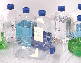 Laboratory Square Glass Bottle 3D