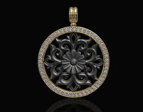 Gothic floral pendant with diamond 3D printable model