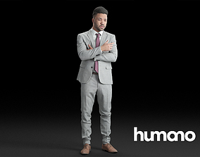 Humano Elegant Business Man Standing with arms 3D model 1