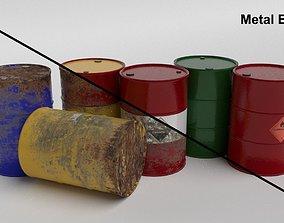 Metal Barrels 3D asset