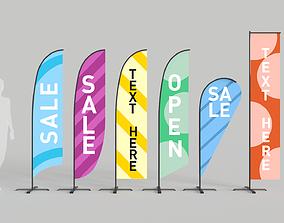 Banner Commercial Flags 3D asset