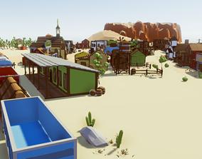 VR / AR ready Cartoon Western City - Low Poly Assets