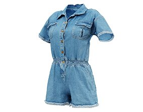 Buttoned Jeans Romper 3D