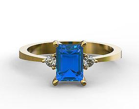 3D print model 7x5 octagon cut diamond ring