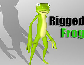 Cartoon frog character 3D model animated