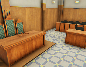 3D model Courtroom - interior and props