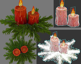 two candles and spruce 3D
