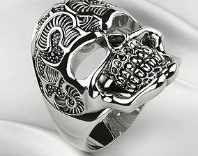3D print model Gold Silver Skull Ring with Rhoduim
