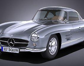 LowPoly Mercedes 300 SL Gullwing 1954 3D asset