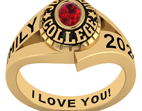Personalized Class Ring 14 -Oval Gem 3D printable model 1